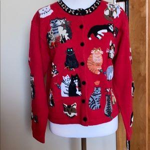 Vintage Susan Bristol cat Christmas sweater